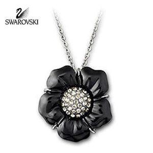 Jewelry - Swarovski Black Jet Crystal Flower Necklace